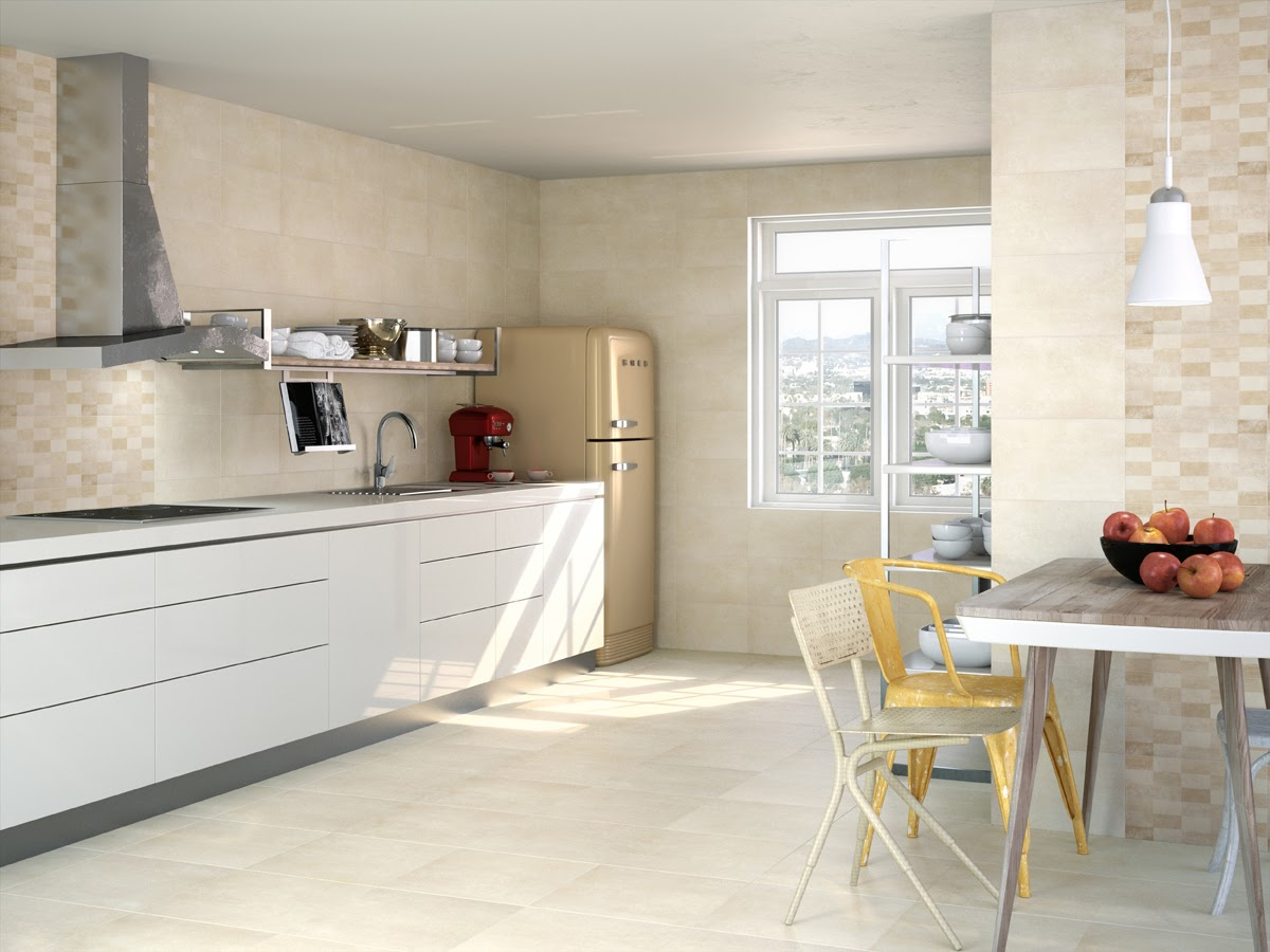 Tiling the kitchen ensures easy clean-up and beautifies the room